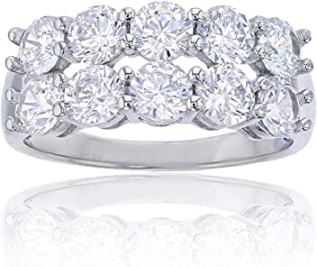 Sterling Silver Rhodium 6.00mm Emerald Cut Cubic Zirconia 5 Stone Anniversary Band Ring
