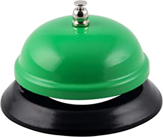 TIANSE Desk Call Bell 3.3'', Green Call Bells Ring for Restaurants Office Class Game, All-Metal Construction, Chrome Finish, No-Slip, Service Bell for School, Hotels