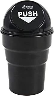 Metrix Premium Trash Cup Holder Small Mini Garbage Can for Car, Home & Office , Black
