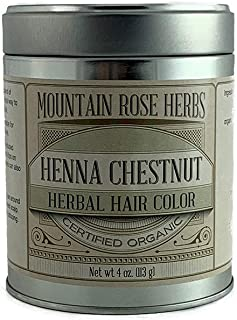 Henna Powder Mountain Rose Herbs - Certified Organic - 4oz (Chestnut)