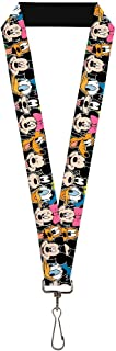 Buckle-Down Lanyard - Classic Disney Character Faces Black