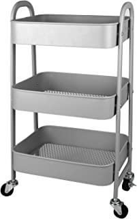 Moppson 3-Tier Metal Rolling Storage Cart with Wheels, Heavy Duty Utility Cart with Handles for Kitchen, Office, Bedroom,Bathroom, Gray