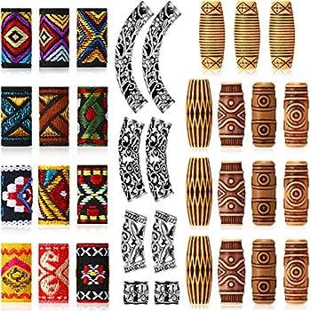 35 Pieces Hair Tube Beads Metal and Fabric Dreadlocks Beads DIY Metal Cuffs Tubes Hair Braiding Jewelry Accessories Mixed Hair Braid Cuff Clip for Men Women Hip-Hop Style