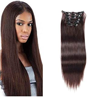 28 Inch Straight Hair Extension Clip in Human Hair Extensions Super Long and Thick 200 Gram Dark Brown Brazilian Virgin Hair Double Weft Full Head Straight 7 Pieces/set 16 Clips (200g 28