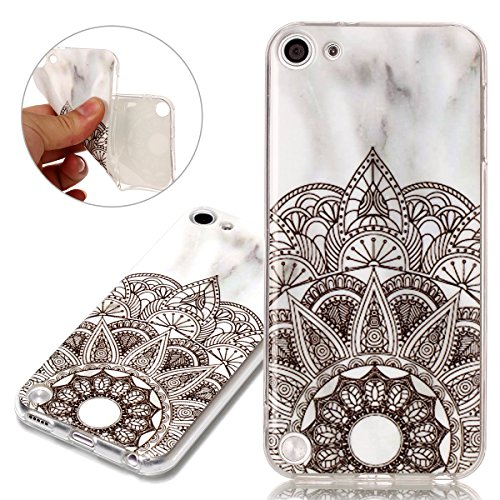 ISAKEN Compatibile con iPhone iPod Touch 5/ Touch 6G Cover - Morbido TPU Custodia Cover Slim Anti Scivolo Custodia Protezione Posteriore Cover Antiurto Bumper Caso Marmo Naturale Case,Mandala