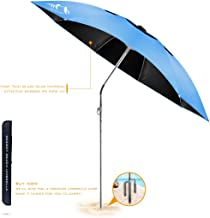 BESROY Portable Beach Umbrella - Outdoor Sunshade with Telescoping Pole, Windproof Stakes & Carry Bag - UV Protection, 360° Rotating, for Beach, Patio, Pool, Terrace, Park