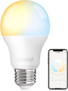 Smart WiFi Light Bulb, Linkind 9W LED Bulb, No Hub Required, Works with Alexa, A19 E26 800LM Starter Smart Lights, Soft White & Cold White, (2700k-6500k) Dimmable and Tunable