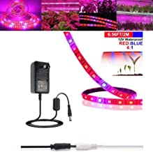 LED Grow Light Strip, 6.56ft Plant Strip Light with Power Supply, Full Spectrum SMD 5050 Red Blue 4:1 Rope Light for Aquarium Greenhouse Hydroponic Pant Indoor Grow Light (2M)