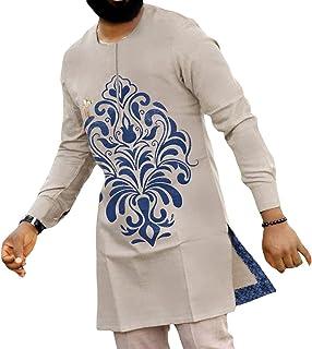 GaoYunQin Hommes Robe Imprimée Islamique Robe Musulmane T-Shirt Chemise de Nuit Manche Longue Thobe Caftan Ethnique Décont...