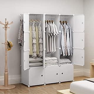 GEORGE&DANIS Portable Wardrobe Closet Plastic Dresser Cube Organizer Storage Carbinet Shelf DIY Furniture, White, 18 inches Depth, 3x4 Tiers