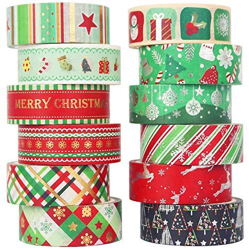 YUBBAEX Weihnachten Washi Tape Set GoldFolie Masking Tape dekorativ Klebeband für Kunst, DIY Handwerk, Bullet Journal liefert, Planer, Scrapbook, Geschenk Verpackung -15mm-