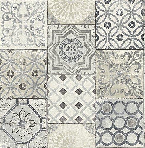 Moroccan Tile Wallpaper in Blue (Gray & Cream)