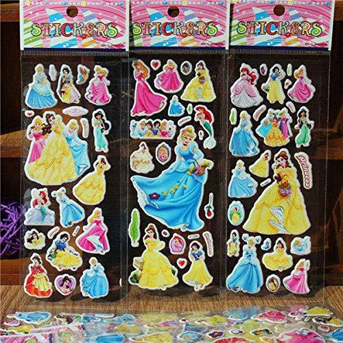 BLOUR 3Pcs / Lot Cartoon TV Schnee Prinzessin Puffy Aufkleber 3D DIY Belohnung Kinderspielzeug Geburtstagsgeschenk Nette Puffy Kinder Spielzeug Aufkleber