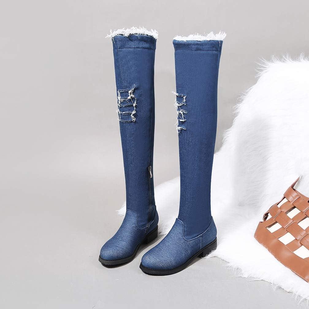 Hoxekle Woman Knee High Boots Denim Slip On Low Heel Round Toe Zipper Winter Warm Ladies Fashion Cool Long Boots