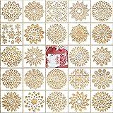 Qpout 24 Stück Mandala Malschablonen Set, Mandala Schablonen Mandala Dotting Schablonen, Wiederverwendbare Sonnenblumen-Schneeflocken-Zeichenschablone für DIY-Rock-Art-Projekte Wände Möbelhandwerk