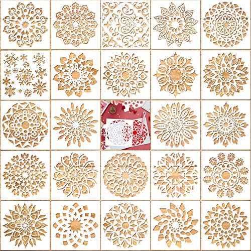 Konsait 24 Pack Flower Stencils for Painting, Mandala Dotting Template for Painting on Wood, Reusable Sunflower Snowflakes Drawing Stencil for DIY Rock Art Projects Walls Furniture Crafts