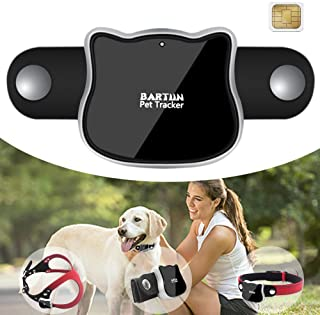 BARTUN Pet GPS Tracker, Real Time Activity Monitor for Dogs Cats WiFi GPS LBS Positioning Tracking Device with Collar Included SIM Card