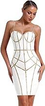 UONBOX Women's Sexy Spaghetti Strap Bandage Dress Gold Panelled Club Bodycon Dress
