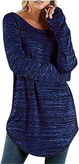 Xmiral Tuniek tops voor dames met lange mouwen T-shirt met fijne lijnen effen ronde hals losse grote maat blouse