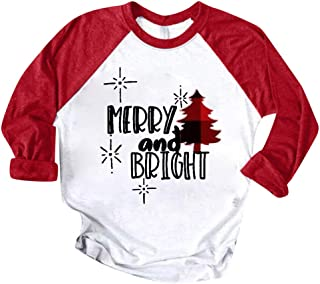 Remanlly Women Merry Christmas Baseball Pullover T-Shirt Long Sleeve Color Patchwork Print O-Neck Casual Raglan Graphic Tees