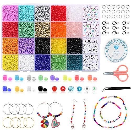 4936 pezzi perline artigianali set 12 colori perline 4 mm per kit di creazione di gioielli, con lettere 8 colori rombi kit fai da te perline collane orecchini fai da te artigianato piccole