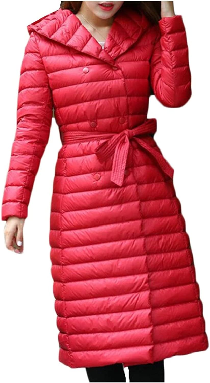 Gocgt Women's Hooded Long Down Puffer Coat Outdoor Quilted Down Parka Jacket
