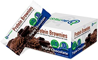 BioTrust Protein Brownies, Decadent High Protein Snacks, Low Carb Gluten Free Brownie Bars, 10g Protein, 9g Net Carbs, 200 Cals, Soft-Baked Protein Bar as Delicious as a Cookie (Triple Chocolate)
