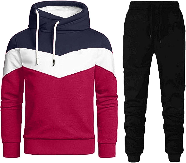 JSPOYOU Mens Cowl Neck Tracksuits 2 Piece Hoodies Patchwork Sweat Suit Set Jogger Pants Casual Sport Sweatsuit Sets