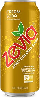 Zevia Cream Soda, 16 Oz Can (12Count) Zero Calorie or Sugar, Naturally Sweetened, Carbonated Soda, Refreshing, Flavorful, & Tasty