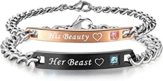 His or Hers Matching Set His Beauty Her Beast Titanium Stainless Steel Couple Bracelet