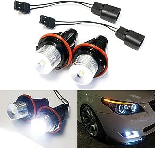 iJDMTOY (2) White LED Angel Eye Bulbs For BMW E39 E53 E60 E63 E64 E65 E66 E83 5 6 7 Series X3 X5, Powered by 7000K Xenon White 5W LED Light w/iJDMTOY Keychain Lanyard