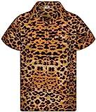 King Kameha Camisa hawaiana de manga corta para hombre, con bolsillo frontal, estampado hawaiano Leopard Camel. XXXXXXL