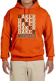 Tobin Clothing Orange Cleveland Mayfield Text Hooded Sweatshirt