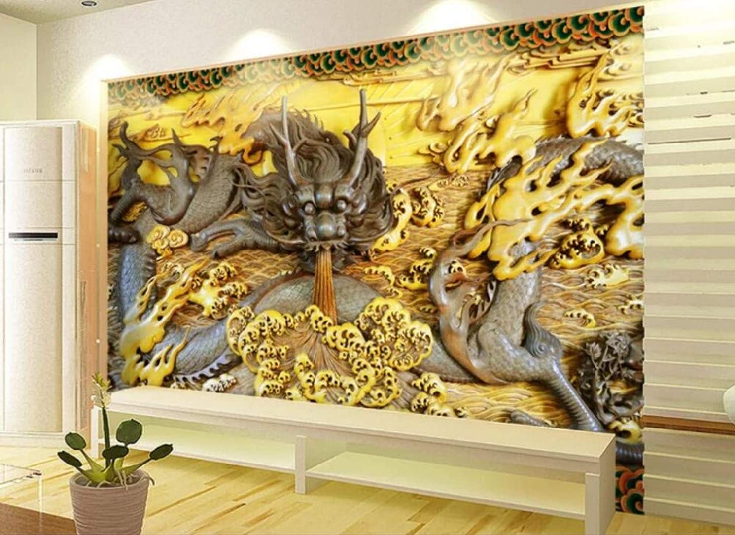 Wall Mural 3D Stone Carving Wood Carving Dragon Custom Wallpaper 3D Effect Living Room Bedroom Wall Murals,350cmX256cm