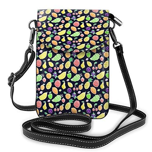 Bananen, ananassen, mango's en andere vruchten kleine Crossbody zakken Crossbody mobiele telefoon portemonnee - Vrouwen PU lederen handtas met verstelbare riem voor dagelijks leven