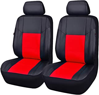 CAR PASS Skyline Sport Black with Red PU Leather Car Seat Covers, 6 Pieces
