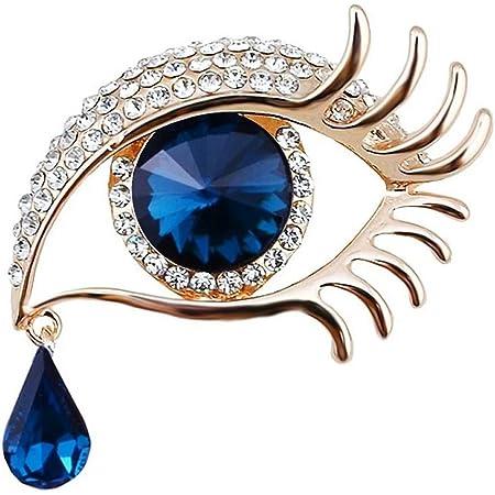 Qiwenr Rhinestone Ángel lágrimas Ojos Broche,Lágrima de Angel Crystal Rhinestone Diamond Encanto Ojos lágrima Gota Cristal Broche Ropa Accesorios Joyería Broches para Boda(Azul