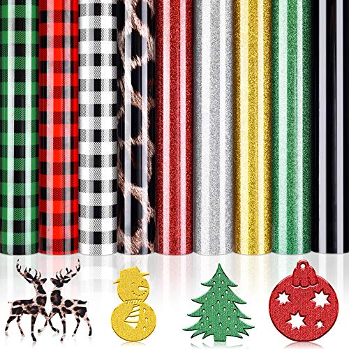 WILLBOND 9 Sheets Christmas Buffalo Heat Transfer Vinyl Plaid Iron-on Vinyl Bundle Glitter HTV Sheet Leopard Adhesive Transfer Vinyl for Clothes Bag Hat Fabric Supplies, 12 x 10 Inch (Mixed Colors)
