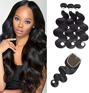 DMS Bundles With Closure Brazilian Virgin Body Wave Hair 3 Bundles With Free Part Closure Unprocessed 100% Human Hair Bundles With Lace Closure Brazilian Body Wave (16 18 20 + 14inch Natural Black)