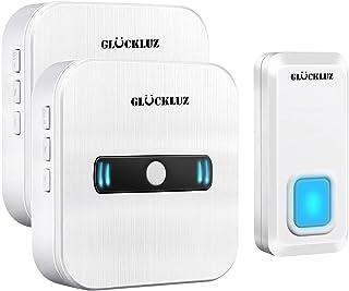 Gluckluz Wireless Doorbell Waterproof Door Bell for Home Office, Cordless Doorbells with 55 Music for Apartment Hotel Base...
