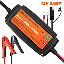 AIMTOM 5Amp Smart Battery Charger, 4-Stage 12V Intelligent Maintainer for Car RV SUV Truck Motorcycle Boat Lawn Mower Use, Fits AGM, Gel, VRLA, Wet, Sealed Lead Acid Batteries