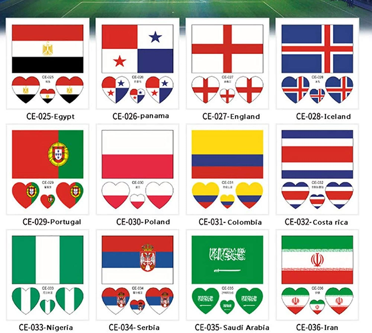 100 PCS National Flags Random Stickers Football Russia Flag Tattoo Sticker 6cm  6cm