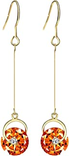 Neoglory Jewelry Made with Swarovski Element Yellow Crystal Long Fish Hook Drop Earrings for Woman