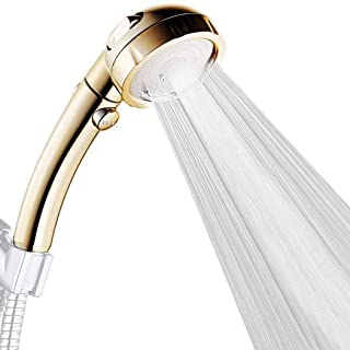 High Pressure Handheld Showerhead Detachable Water Saving 3 Modes Adjustable Shower Head ON/OFF Switch(gold)