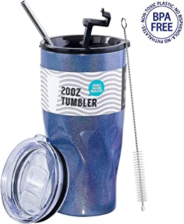 LUXEAR Glitter Tumbler with Straw - 20oz Stainless Steel Tumbler Cup - Insulated Coffee Beer Tea Water Mug for Outdoor Home Beach Car Travel - Leakproof Lid & Sliding Lid Style - Blue