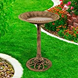 Pure Garden 50-LG1074 Antique Bird Bath-Weather Resistant Resin Birdbath with Vintage Scro...
