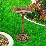 Pure Garden 50-LG1074 Antique Bird Bath-Weather Resistant Resin Birdbath with Vintage Scroll Design, 3 Ground Stakes for Garden, Outdoor Decor (Bronze)