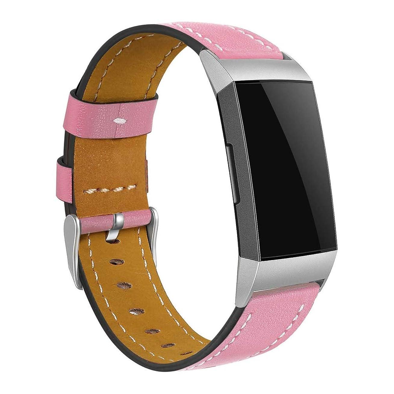 民主党頭痛差し控えるComtax for Fitbit Charge 3 ベルト 交換用バンド 多色選択 本革レザー製 調整可能 対応 Fitbit Charge 3 (ピンク)