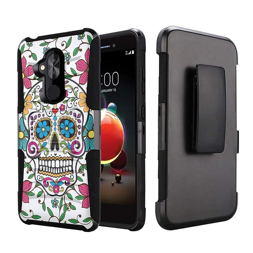 Capsule Case Compatible with T-Mobile Revvl 2 Plus, Alcatel 7 Folio, Alcatel 7 (2018) Metro PCS [Kickstand Holster Combo Heavy Duty Protection Case Black] - (Sugar Skull Blue)