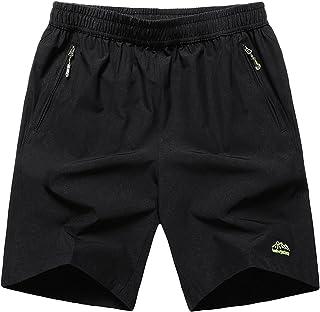 Muzboo Pantalones cortos grandes y altos de secado rápido con bolsillos para hombre